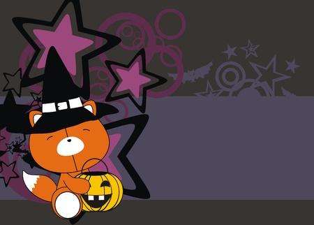 fox baby cartoon halloween background in vector format Vector