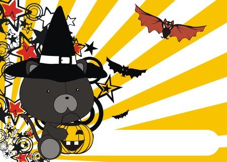 panther baby cartoon halloween background in vector format Vector