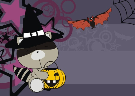 raccoon baby cartoon halloween background in vector format Vector