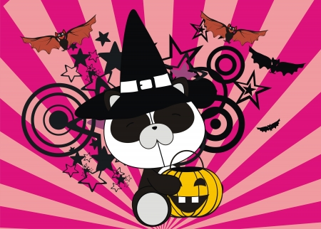 panda bear baby cartoon halloween background in vector format Vector