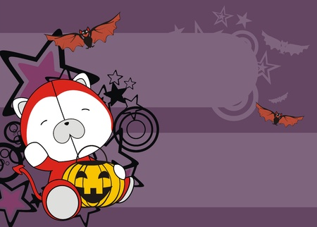 polar bear baby cartoon halloween background in vector format Vector