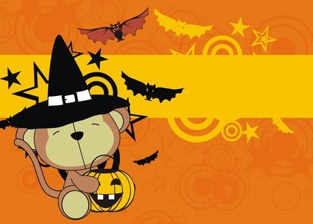 monkey baby cartoon halloween background in vector format