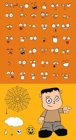 frankenstein cartoon set in vector format Vector