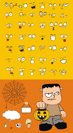 frankenstein cartoon set in vector format Vector