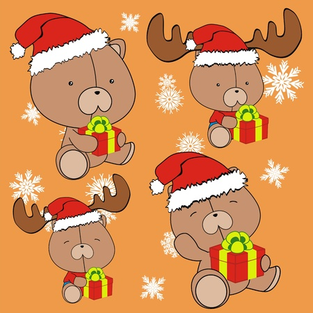 teddy bear baby cartoon christmas set Vector