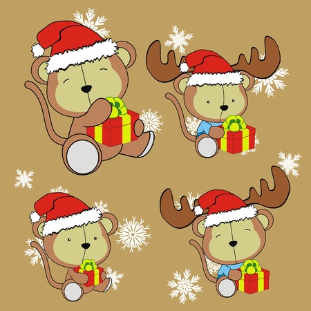 monkey baby cartoon christmas set Stock Vector - 10908797