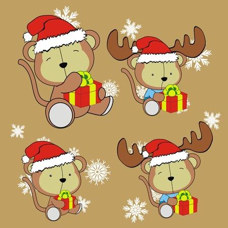happy kids: monkey baby cartoon christmas set