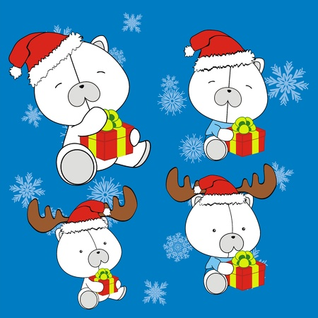 polar bear baby cartoon christmas set  Vector