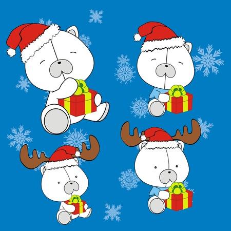 polar bear baby cartoon christmas set  Vector