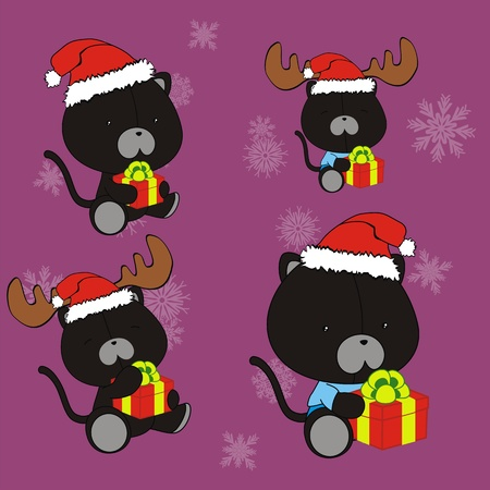 holliday: panther baby cartoon christmas set Illustration