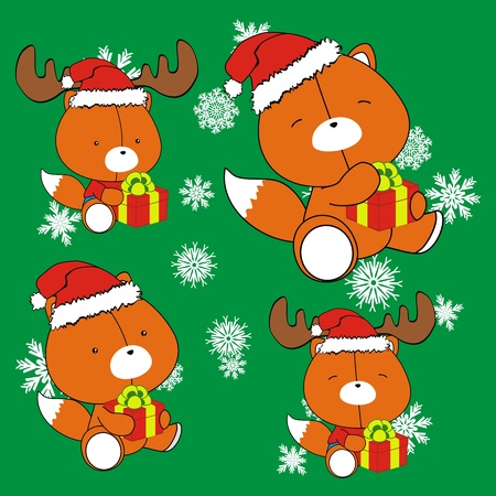 fox baby cartoon christmas set Stock Vector - 10908816