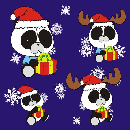 panda bear baby cartoon christmas set  Vector