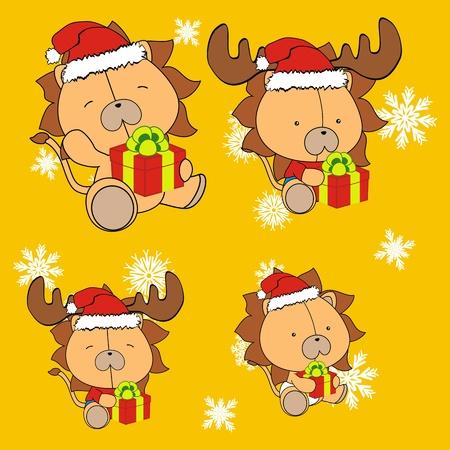 lion baby cartoon christmas set   Vector