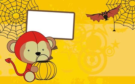monkey baby cartoon halloween background  Vector