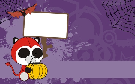 panda bear baby cartoon halloween background Vector