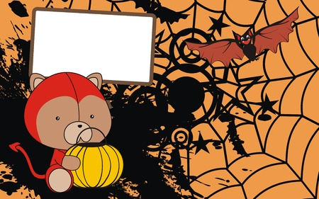 teddy bear baby cartoon halloween background  Ilustração