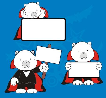 baby bear: polar bear dracula cartoon signboard set