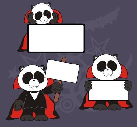 panda bear dracula cartoon signboard set  Vector