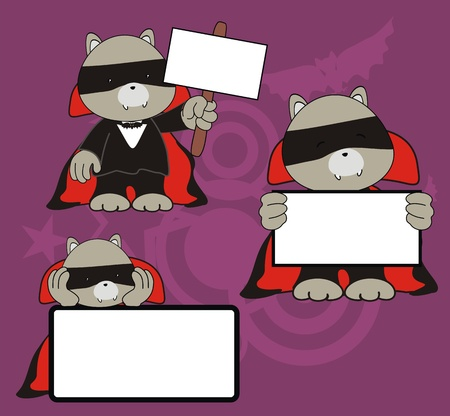 raccoon dracula cartoon signboard set  Stock Vector - 10908805