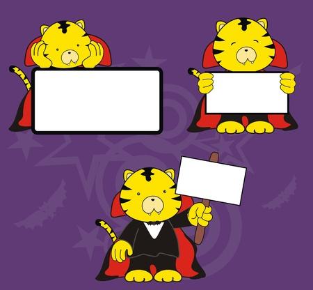 tiger dracula cartoon signboard set  Vector