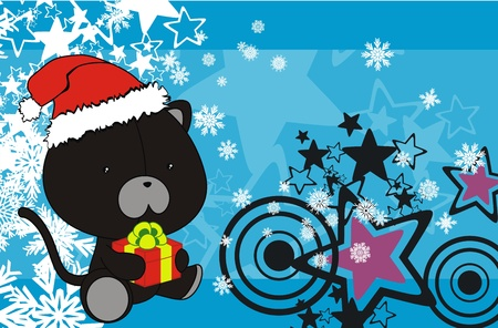 panther baby cartoon xmas background in vector format Stock Vector - 10939723