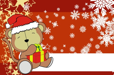 monkey baby cartoon xmas background in vector format Vector