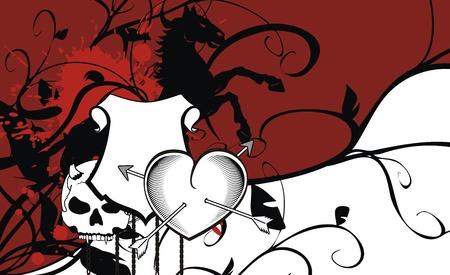 heraldic heart arrows crest background in vector format Vector