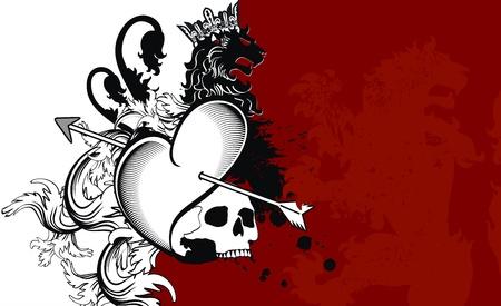 heraldische hart pijlen crest achtergrond in vector-formaat