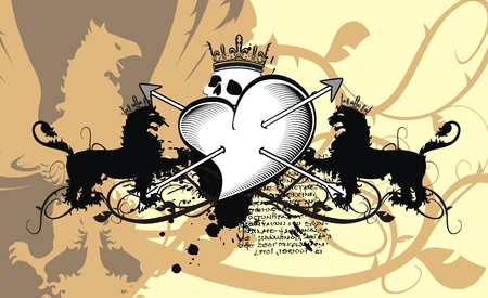 skull and crown: heraldic heart arrows crest background in vector format Illustration