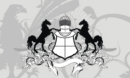 heraldic shield coat of arms crest horse background in vector format Vector