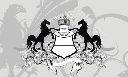 copyspace: heraldic shield coat of arms crest horse background in vector format