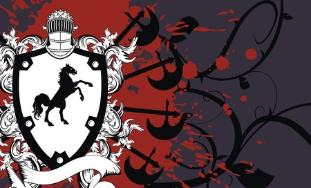heraldic shield coat of arms crest horse background in vector format