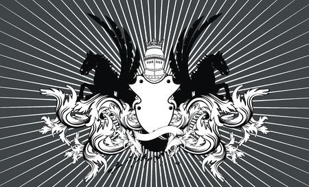 heraldic shield coat of arms crest horse background in vector format Vector