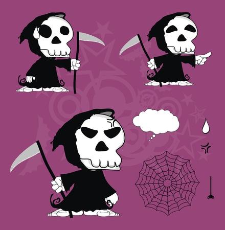 fear: funny dead cartoon set in vector format Illustration