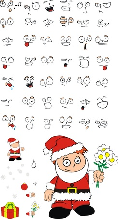 saint nicholas: claus xmas kid cartoon set in vector format