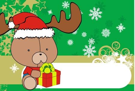 clip art santa claus: teddy bear baby cartoon xmas background in vector format