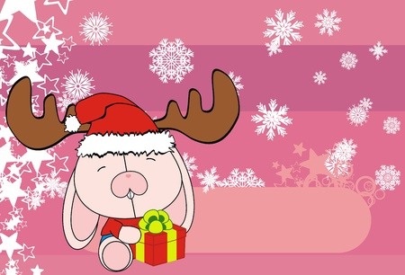 bunny baby cartoon xmas background in vector format Vector