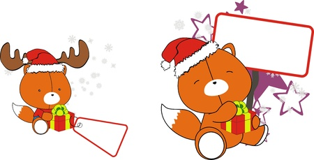 Fox baby cartoon Christmas sticker Vector