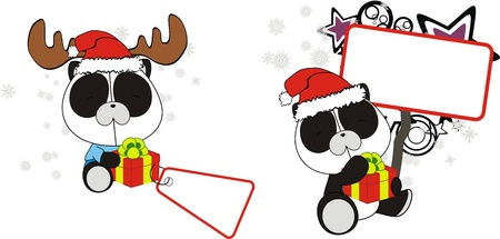 Panda bear baby cartoon Christmas sticker  Vector