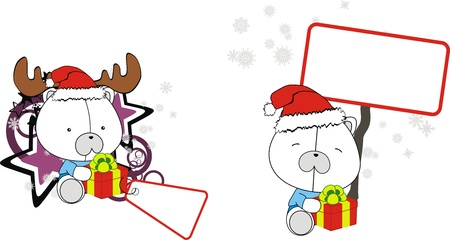 Polar bear baby cartoon Christmas sticker Vector