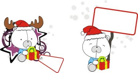 Polar bear baby cartoon Christmas sticker Vector