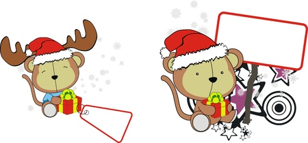 Monkey baby cartoon Christmas sticker Vector