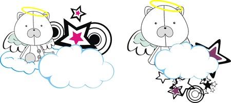 polar bear angel kid cartoon copysapce