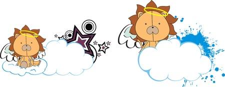 lion angel kid cartoon copyspace  Vector