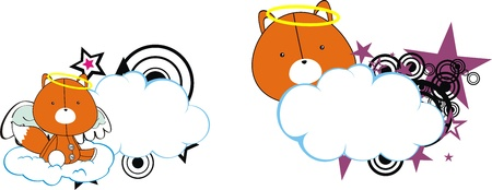 fox angel kid cartoon copysapce in vector format Vector