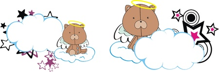 teddy bear angel kid cartoon copyspace Vector
