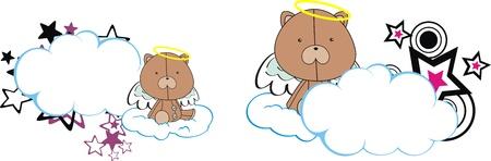 teddy bear angel kid cartoon copyspace