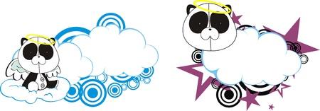 panda bear angel kid cartoon copysapce