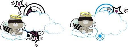 copysapce: raccoon angel kid cartoon copysapce