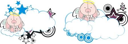 bunny angel kid cartoon copyspace  Vector